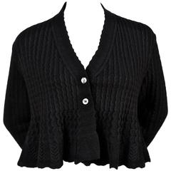 1990's AZZEDINE ALAIA black cropped cardigan sweater