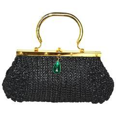 Italian Raffia and Glass Drop Bag