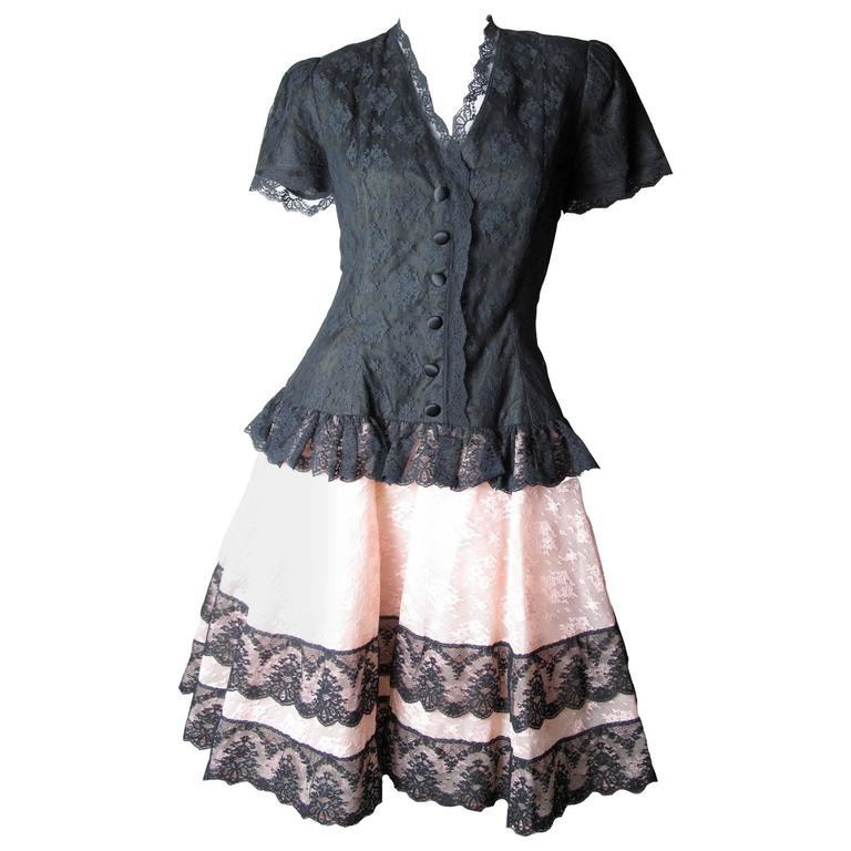 Oscar de la Renta Pink and Black Lace Dress