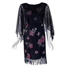 1975 Holly's Harp Fringed Black Pink Roses Floral Rayon Angel-Sleeve Dress