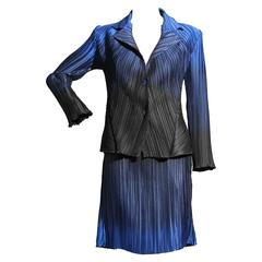 Issey Miyake Blue Ombre Micro Pleated Jacket and Skirt Suit Ensemble Japan Sz 2