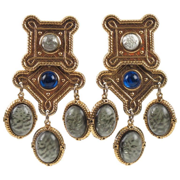 Zoe Coste Paris Baroque Chandelier Clip on Earrings Poured Glass ...