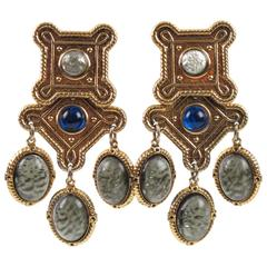 Zoe Coste Paris Baroque Chandelier Clip on Earrings Poured Glass Cabochon