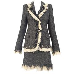 Alexander Mcqueen wool fitted blazer and skirt ensemble