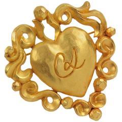 Christian Lacroix Paris Signed Pin Brooch Gilt Metal Baroque Heart