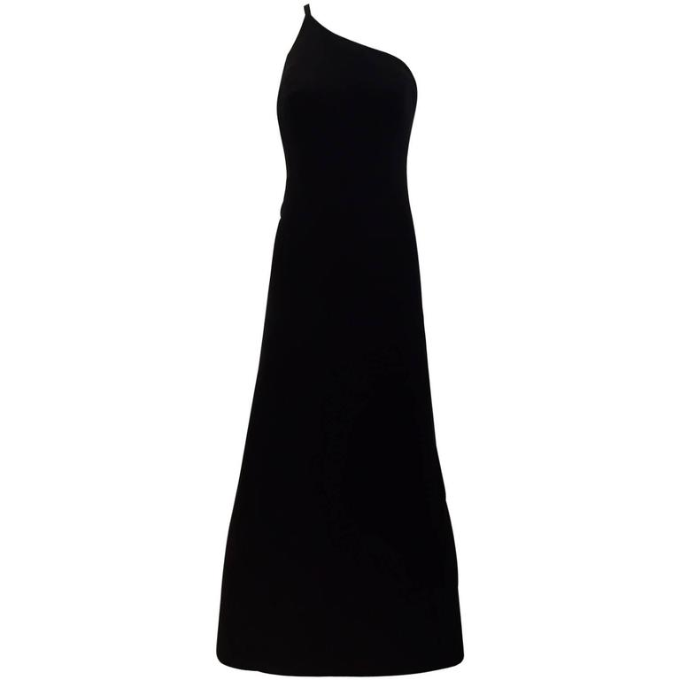 90s Giorgio Armani black silk asymetrical dress For Sale