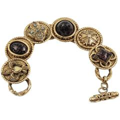 Zoe Coste Paris Medieval Link Bracelet Poured Glass Cabochon
