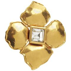 Yves Saint Laurent YSL Paris Signed Gilt Metal Pin Brooch Floral Design
