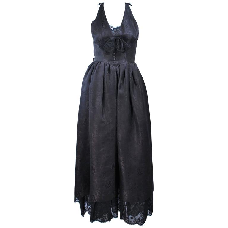 NINA RICCI Black Lace and Brocade Gown Size 0