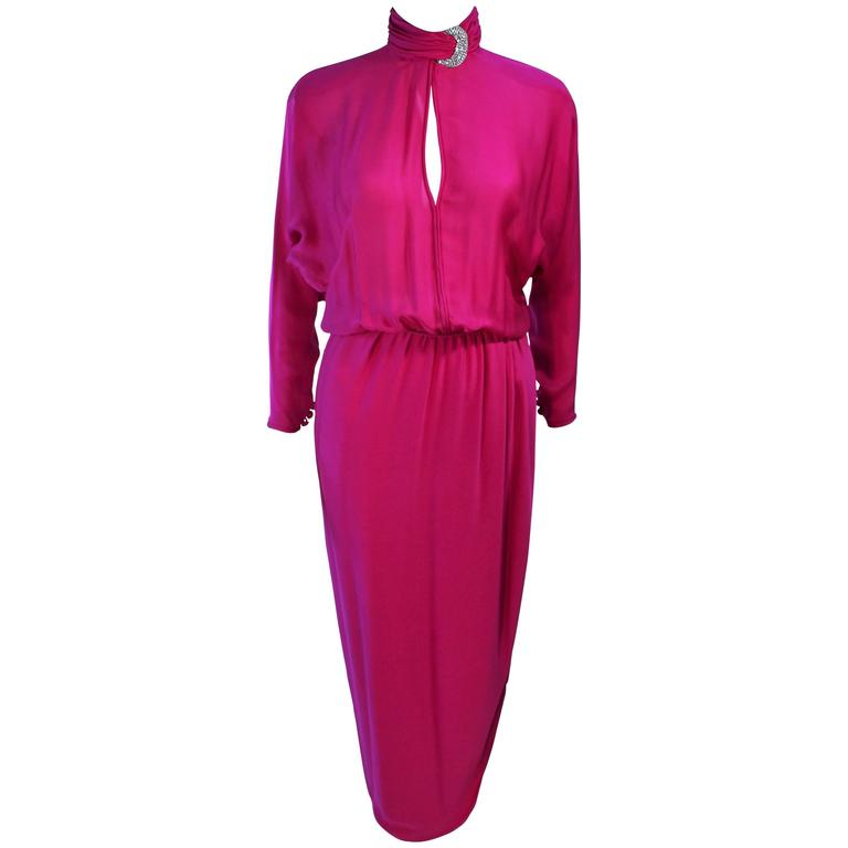 GALANOS Attributed Magenta Draped Silk Gown with Rhinestone Accents Size