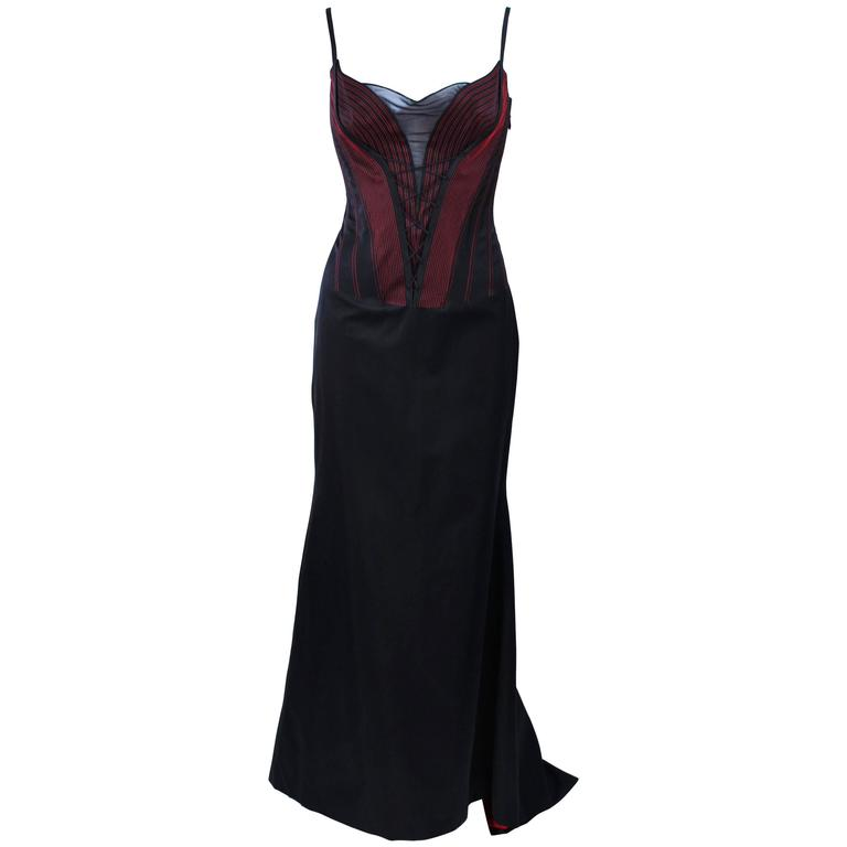 RICHARD TYLER Silk Corset Gown with Red Accents Size 12 14 For Sale