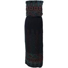 Custom 1970's Black Three Piece Sequin Applique Pantsuit Ensemble Size 0