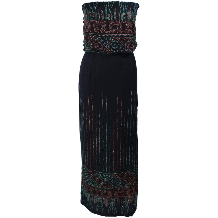 Custom 1970's Black Three Piece Sequin Applique Pantsuit Ensemble Size 0 For Sale