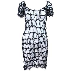 Custom Vintage Black Sequin Cage Dress Size Small Medium