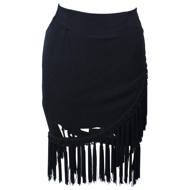 DIANE FREZ Black Chiffon Wrap Skirt with Tassels Size 4 6 1