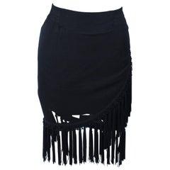 DIANE FREZ Black Chiffon Wrap Skirt with Tassels Size 4 6