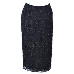 GIORGIO ST' ANGELO 1980's Black Beaded Silk Skirt 6 8