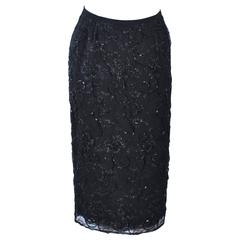 GIORGIO ST' ANGELO 1980's Black Beaded Silk Skirt 6 8