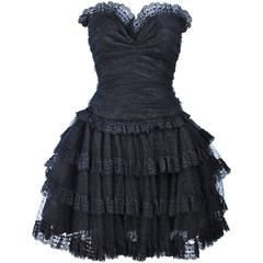 DELL LOS ANGELES Black Ruffled Tiered Sequin Cocktail Dress Size 6 8