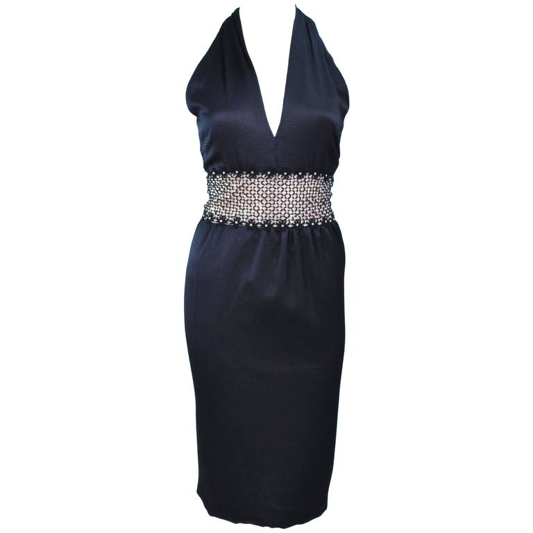 ROBERT DAVID-MORTON Black Silk Cocktail Dress Nude Rhinestone Waist Size 6 8 1