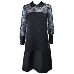 MALCOLM STARR Black Silk Lace Collared Dress Size 4 6