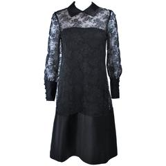 MALCOLM STARR Black Silk Lace Collared Dress Size 4 6