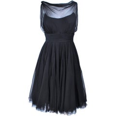 GALANOS Black Silk Chiffon Draped Cocktail Dress Size 2