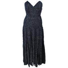 EAVIS & BROWN Black Velvet Heavily Beaded Strapless Gown with Chiffon Size 2 4