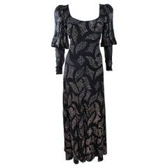 PAULINE TRIGERE 1970's Black Sequin Applique Full Length Dress Size 12