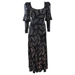 PAULINE TRIGERE 1970's Black Sequin Applique Full Length Dress Size 12
