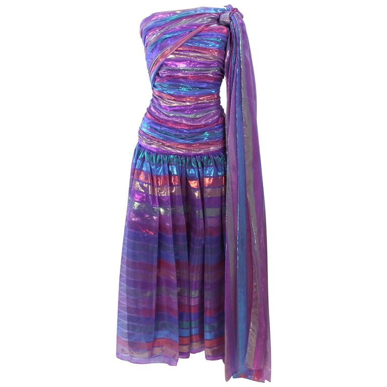 VICTOR COSTA 1970's Iridescent Rainbow Lame Gown with Drape Size 6 8 1