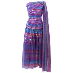 VICTOR COSTA 1970's Iridescent Rainbow Lame Gown with Drape Size 6 8