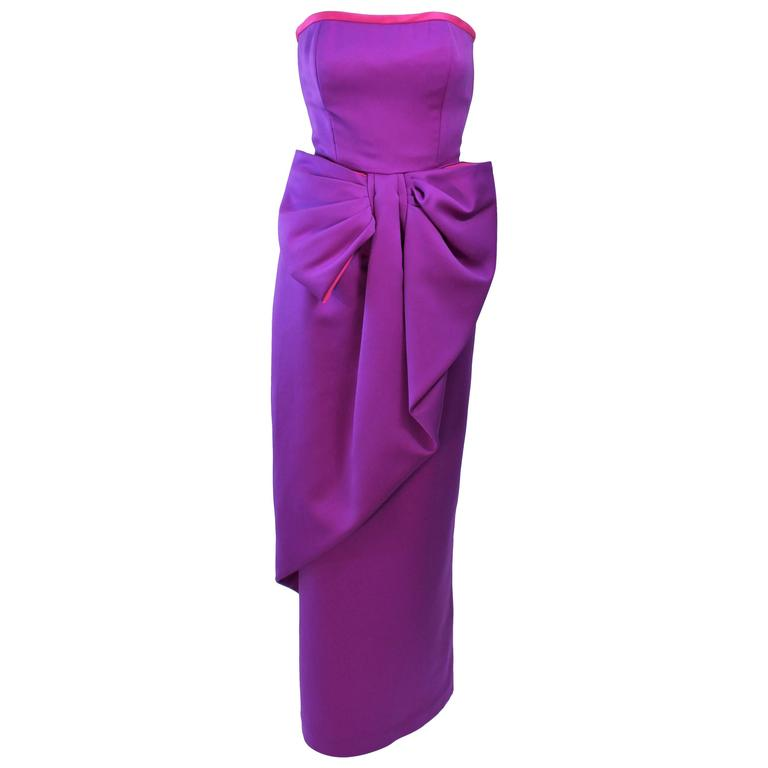 VICTOR COSTA Purple and Magenta Draped Bow Gown Size 8 10 For Sale