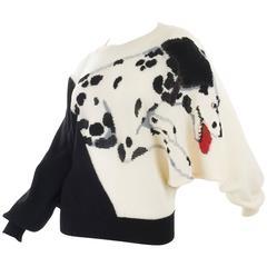 Krizia 1980s Black and Creme Dalmatian Sweater