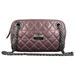Chanel Reissue Metallic Purple Lambskin 2.55 Evening Purse Bag
