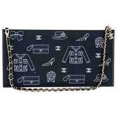Chanel Two way Black Fabric CC Shoulder Evening Bag