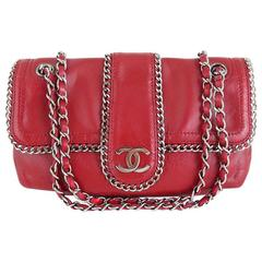 Chanel Red Lambskin Chain Around 10inch Medium 2.55 Seasonal Flap Bag