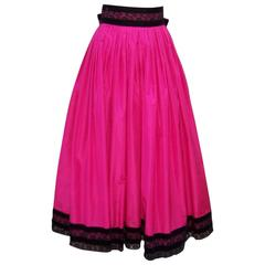 Girlish 1980's Oscar de la Renta Shocking Pink Silk Skirt With Velvet Details