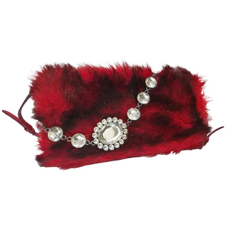 Miu Miu Red and Black Shoulder Bag with crystal swarovski