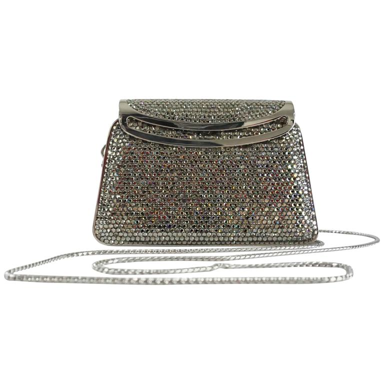 Judith Leiber Silver Crystal Minaudiere - Circa 90's For Sale