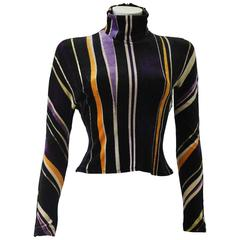 Gianni Versace Velvet Stripe High Neck Top Fall 1994