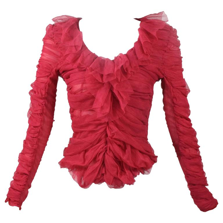 5f4c75f3c9f7d8 Tom Ford for Yves Saint Laurent Red Ruched Ruffled Silk Top Blouse For Sale