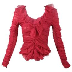 Tom Ford for Yves Saint Laurent Red Ruched Ruffled Silk Top Blouse