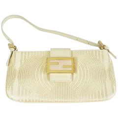 Fendi Creme and Gold Leather Pouchette-GHW