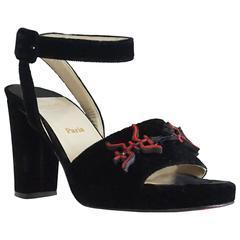 Christian Louboutin Black Velvet Ankle Strap Sandal with Chunky Heel-37