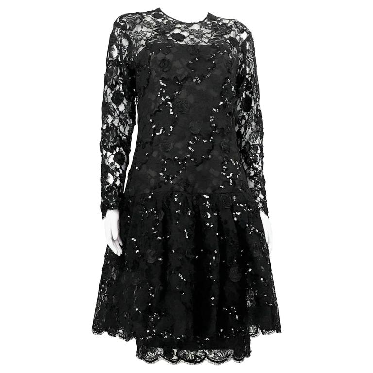 Dior 1987 Fall/Winter Campaign Lace and Sequins Black Dress For Sale
