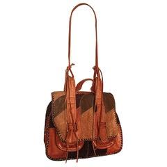 Rare 1970s Char Vintage Leather / Suede Tan and Brown Boho Shoulder Bag Satchel