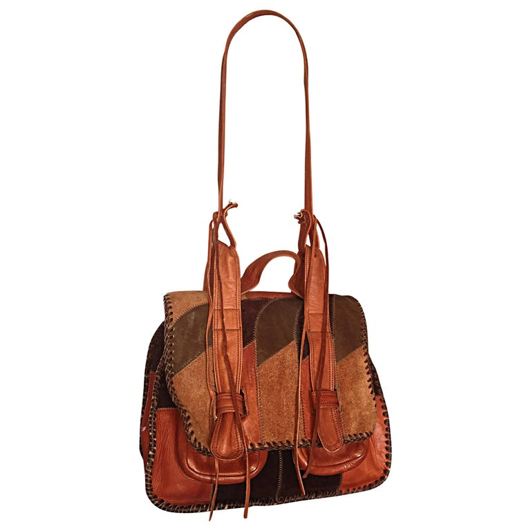 Vintage brown leather and suede bag