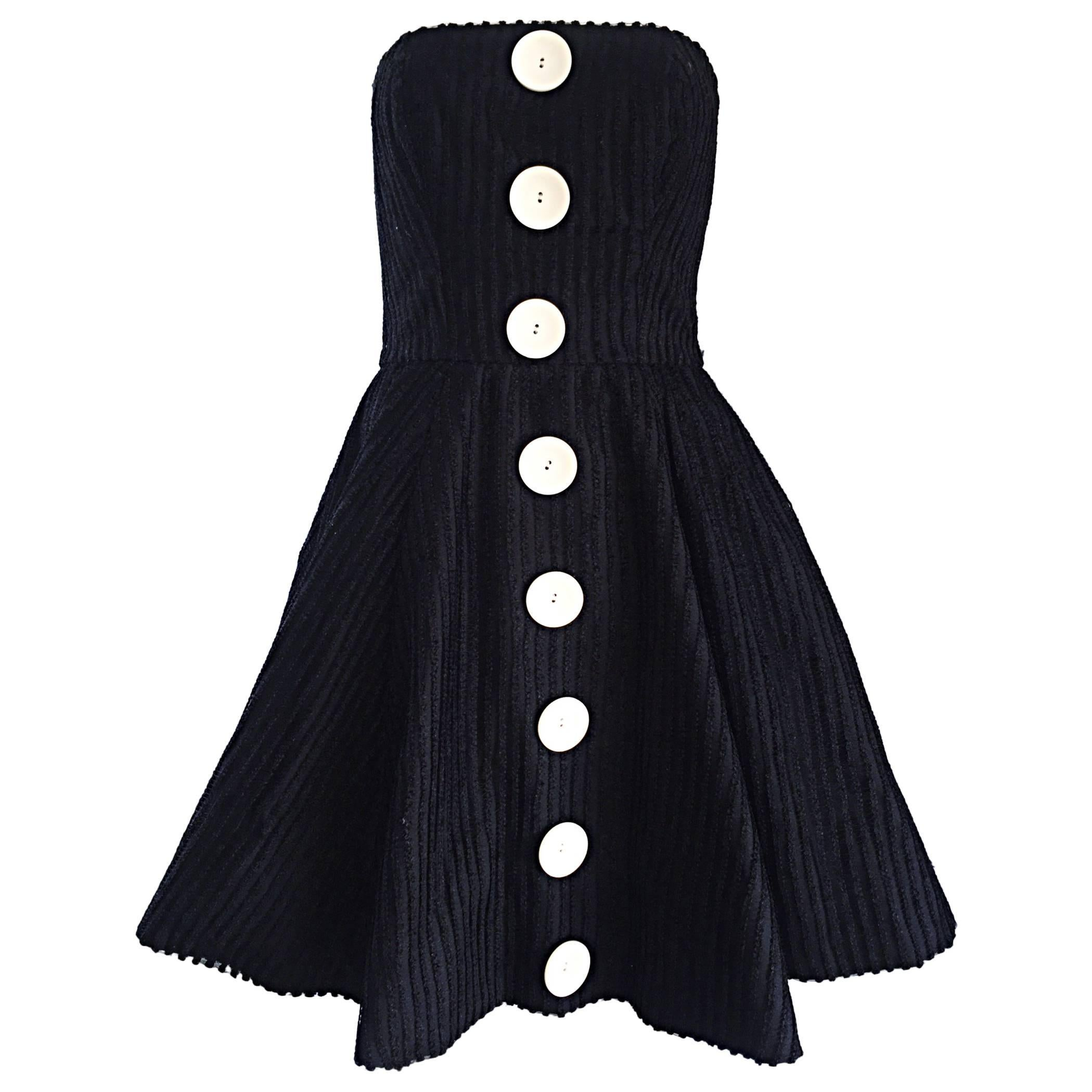 Vintage Christian Lacroix Black and White Fit n' Flare Strapless Button Dress