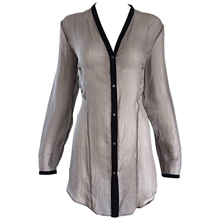 Helmut Lang 1990s Silk + Leather Semi Sheer Long Sleeve Vintage Blouse Tunic
